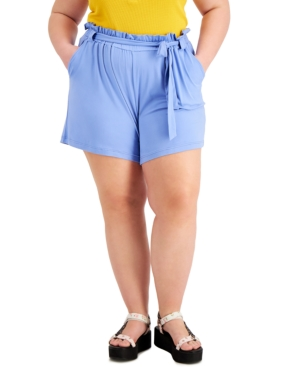 Trendy Plus Size Belted Paperbag-Waist Shorts