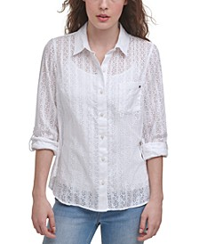 Burnout Roll-Sleeve Shirt