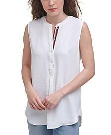 Sleeveless Band-Collar Shirt