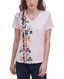 V-Neck Graphic-Print T-Shirt
