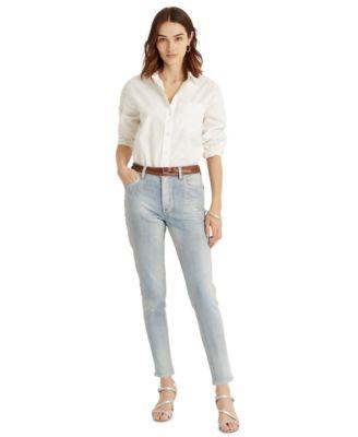 로렌 랄프로렌 Lauren Ralph Lauren High-Rise Skinny Ankle Jeans,Faint Pearl Blue Wash