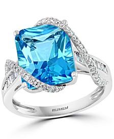 EFFY® Blue Topaz (7-1/20 ct. t.w.) & Diamond (3/8 ct. t.w.) Ring in 14k White Gold
