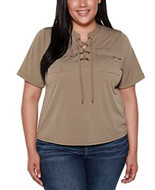 Black Label Plus Size Lace Up Top with Pockets