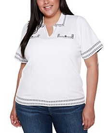 Black Label Plus Size Collared Short Sleeve Sweater