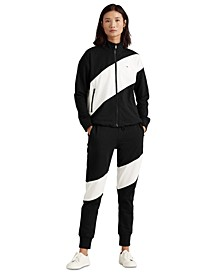 Two-Tone Cotton-Blend Zip-Up
