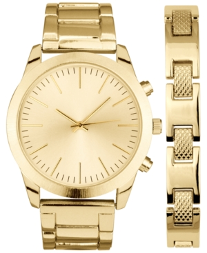 INC INTERNATIONAL CONCEPTS MEN'S BRUSHED SILVER-TONE OR GOLD-TONE BRACELET WATCH 46MM GIFT SET, CREATED FOR MACY'S