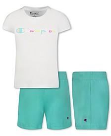 Little Girls Color block Script Short Sleeve T-shirt and Mesh Short, 2 Piece Set