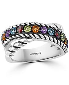EFFY® Multi-Gemstone Crossover Ring (9/10 ct. t.w.) in Sterling Silver
