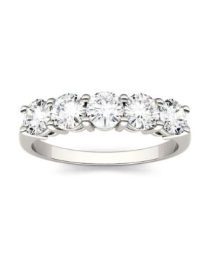Moissanite Five Stone Band 1-1/6 ct. t.w. Diamond Equivalent in 14k White Gold