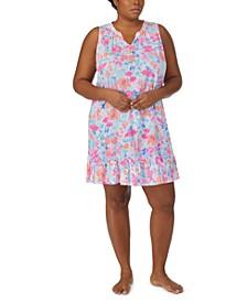 Plus Size Printed Flounce-Hem Nightgown