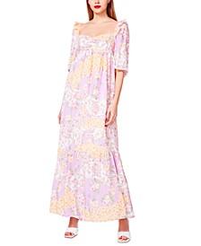 Patchwork-Floral Maxi Dress