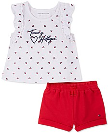 Baby Girls 2-Pc. Ruffled Top & French Terry Shorts Set