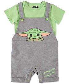 Baby Unisex 2-Pc. T-Shirt & Cuteness Overload Baby Yoda Shortall Set