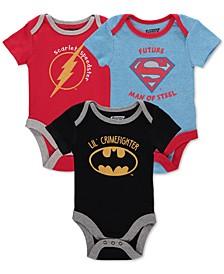 Baby Boys 3-Pk. Justice League Bodysuits