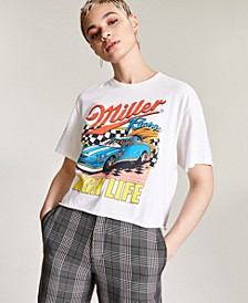 Cotton Miller High Life-Graphic Cropped T-Shirt