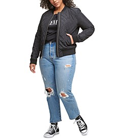 Trendy Plus Size Diamond Quilted Bomber Jacket