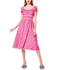 Ditsy-Print Midi Dress