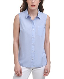 Cotton Cornell Striped Sleeveless Shirt