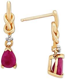 Ruby (1 ct. t.w.) & Diamond Accent Drop Earrings in 10k Gold