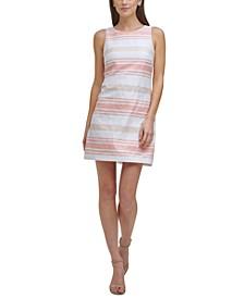 Petite Striped Jacquard Dress