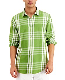 Men's Regular-Fit Acid-Washed Plaid Shirt, Created for Macy's