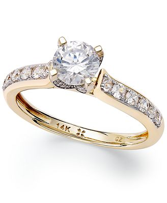 Macy S Diamond Engagement Ring In 14k White Gold Or 14k Gold 1 Ct