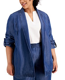 Plus Size Roll Tab Jacket, Created For Macys