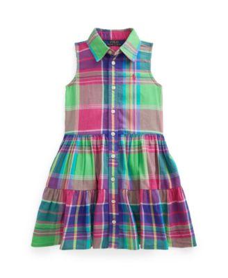 폴로 랄프로렌 Polo Ralph Lauren Little Girls Madras Shirtdress,Pink Multi