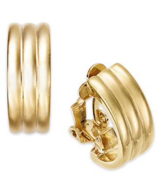 Gold-Tone Ribbed Hoop Clip-On Earrings