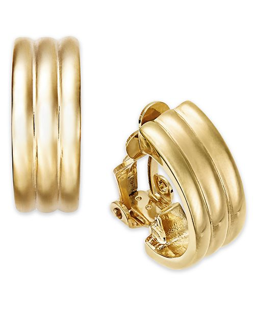 Lauren Ralph Gold Tone Ribbed Hoop Clip On Earrings