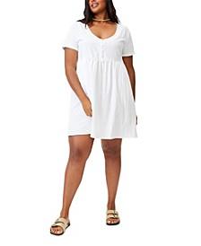 Trendy Plus Size Mini Button Up Beach Dress