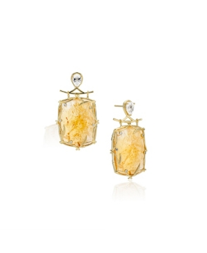 Rectangle Vine Sterling Silver Earrings in Fine Yellow Gold Plate