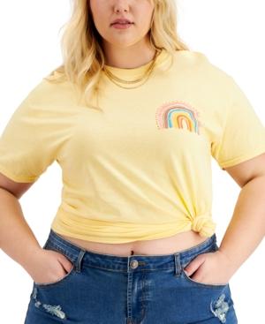 Trendy Plus Size Rainbow Cotton T-Shirt
