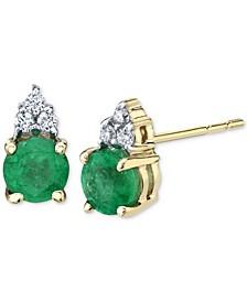 Emerald (5/8 ct. t.w.) & Diamond (1/20 ct. t.w.) Stud Earrings in 14k Gold