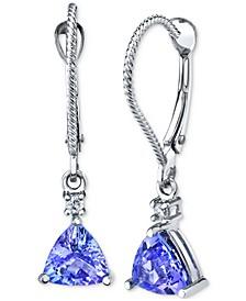 Tanzanite (1-3/4 ct. t.w.) & Diamond (1/20 ct. t.w.) Drop Earrings in 14k White Gold