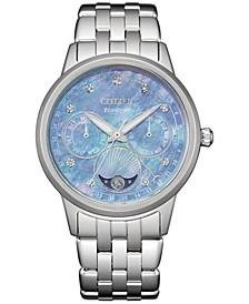 Women's Calendrier Diamond Accent Stainless Steel Bracelet Watch 37mm