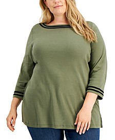 Plus Size Contrast Trim 3/4-Sleeve Tunic, Created for Macy's