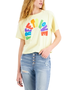 Juniors' Cotton Free To Love Graphic-Print T-Shirt