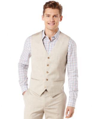 Big and Tall Linen Blend Textured Vest