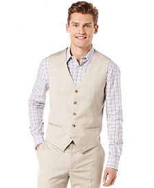Perry Ellis Big and Tall Linen Blend Textured Vest