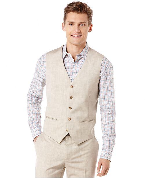 Perry Ellis Big and Tall Linen Blend Textured Vest