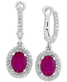 EFFY® Ruby (1-7/8 ct. t.w.) & Diamond (1/2 ct. t.w.) Drop Earrings in 14k White Gold