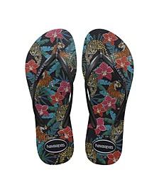 Women's Slim Tropical Flip Flop Sandals