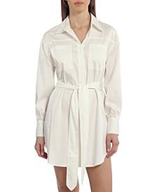 Women's Belted Cotton Shirt Dress