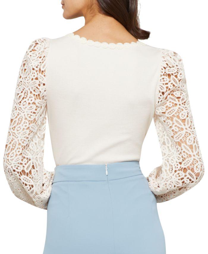 BCBGMAXAZRIA Lace-Sleeve Bodysuit & Reviews - Tops - Women - Macy's