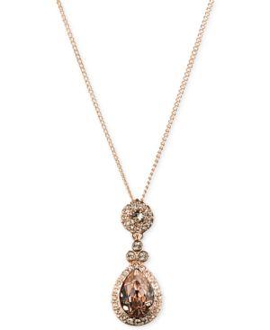 Necklace, Swarovski Element Teardrop Pendant in Rose Gold-Tone
