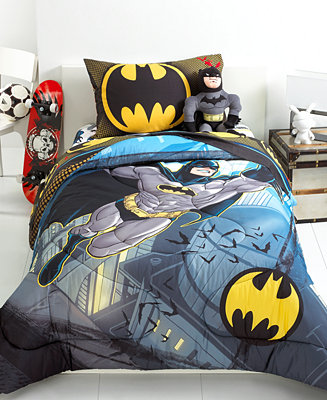 batman from the rooftop twin full comforter bedding collections bed bath macy 39 s. Black Bedroom Furniture Sets. Home Design Ideas