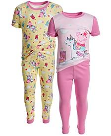 Toddler Girls 4-Piece Cotton Pajama Set