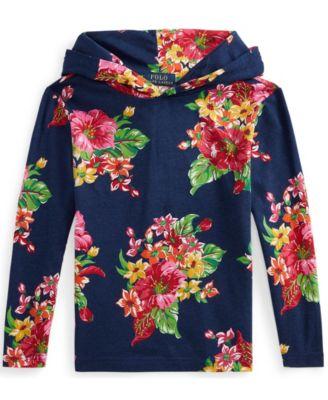 폴로 랄프로렌 Polo Ralph Lauren Little Boys Floral Jersey Hooded T-shirt,Royal Ditch Plains Floral