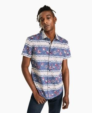 Men's War & Peace Classic-Fit Floral Geo-Stripe Shirt